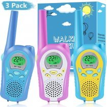 3 Pack Walkie Talkies for Kids,3KM Long Distance Clear Sound & Easy to Use Intercom Toys,8 Channels 2 Way Radio Toy PMR 446MHz VOX with Lanyard and LED,Kids Gift for 3-12 Year Old Boys and Girls