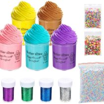 Abree Slime Set Non-Sticky Floam Slime Stress Relief Toy Scented DIY 5 Colors Putty Sludge Toy for Kids and Adults with Decoration Kits