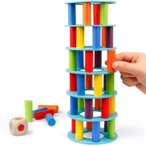 Coogam Wooden Leaning Tower Game – Tumbling Block Toppling Timber Stacking Tower Toy Games Montessori Gift for Kids