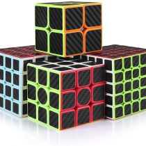 cfmour Rube Cube,Rube Cube Speed Cube Set,2×2 3×3 4×4 5×5 Carbon Fiber Sticker Cube Bundle for Kids