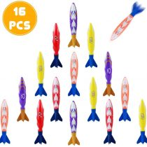 Akokie Diving Toys Swimming Pool Dive Toys Torpedo Bandits Dive Sticks Sinking Pool Toy Underwater Game 16 pcs