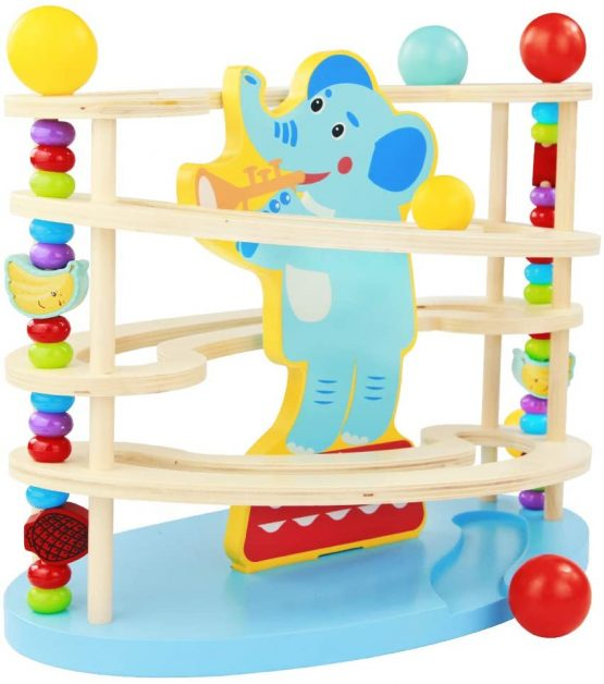 Nuheby Wooden Toys Elephant Toy Marble Run for Kids ...