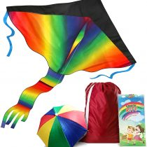 AGREATLIFE Rainbow Kite with Storage Bag and Umbrella Hat – Enjoy and have Fun with Family and Friends with a Kite that Soars High and Easy to Fly!