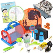 ESSENSON Outdoor Explorer Kit & Bug Catcher Set with Binoculars, Flashlight, Compass, Magnifying Glass, Butterfly Net and Backpack for 3-10 Years Old Boys Girls Adventure STEM Toys Gift