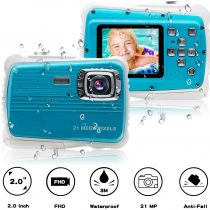 [Updated 2019 Model] ISHARE Kids Camera, waterproof kids camera best gifts for Girls/Boys 21MP HD Underwater Digital Camera with 2.0″ LCD, 8 X Digital Zoom, Flash and Mic (Blue)