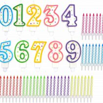 0~9 Number Multi Color Candles & 6 Boxes of 24 Pack Short Stripe Assorted Candles with Holders