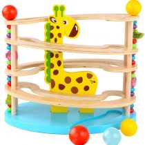 BeebeeRun wooden toy for children, Marble run ,Ball ramp track with 3 balls and rolling Four-tier rolling tower toys for kids 3 years +