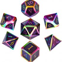 7 Pieces Metal Dices Set DND Game Polyhedral Solid Metal D&D Dice Set with Storage Bag and Zinc Alloy with Enamel for Role Playing Game Dungeons and Dragons, Math Teaching (Rainbow-Dark Purple)
