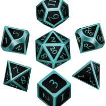 7 Pieces Metal Dices Set DND Game Polyhedral Solid Metal D&D Dice Set with Storage Bag and Zinc Alloy with Enamel for Role Playing Game Dungeons and Dragons, Math Teaching (Light Blue Edge Black)