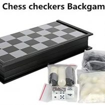 3 in 1 Folding Travel Magnetic Game Set Chess Checkers Backgammon Set with Magnetic Playing Pieces (Medium Size ( 32 X 32 Cm ))