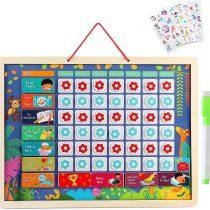 Lewo Kids Calendar Reward Chart Children's Calendar Magnetic Daily Calendar Developmental Toys Encourages Good Behavior Educational & Learning Wooden Toy Graduation Gifts for Toddlers Boys Girls