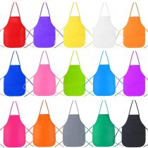 Caydo 15 Pieces Kids Aprons Middle Size for 5-10 Years Old Kids, Applied in Kitchen, Classroom, Community Event, Crafts and Art Painting Activity, 15 Colour