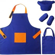 ARRIS Kids Apron Set with Chef Hat for Boys Girls, Children Aprons Adjustable W/Pocket Arm Sleeves Storage Bag for Cooking Painting Baking Cleaning Art DIY Washable