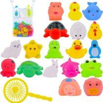 10Pcs/Set Floating Funny Animal Themed Bathtub Toys with Fishing Net & Bathroom Storage Hanging Organizer Mesh Bag for Baby (Random Style)
