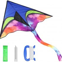 Anpro Huge Colorful Kite for Kids and Adults with 30m/98 Feet Kite String Line, Flying Toys for Outdoor Games
