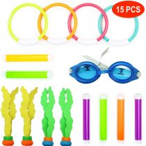 15 Pack Underwater Diving Pool Toys – 6x Diving Sticks, 4x Diving Rings, 4x Dive Ball Streamers, 1x Swimming Goggles – Swimming Pool Sinkers Dive Toys for Training Games Party Gift Girls Boys Kids