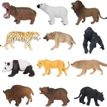 12 Piece Plastic Educational Forest Animals Figures Toy Set for Boys Girls Kids Toddlers include Lions, tiger, gorilla, hippo, panda, panther, polar bear, brown bear, wolf, bison, jackal, liones