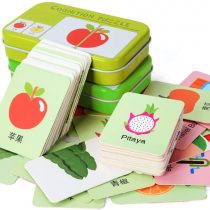 64 Pieces Flash Cards Cognition Puzzle Cards Cognitive Cards Baby Early Educational Anti-Tear with Iron Storage Box for Baby Early Educational (Digital Animals, Fruits Vegetables)