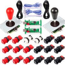EG STARTS 2 Player Arcade Joystick DIY Parts 2X USB Encoder + 2X Ellipse Oval Joystick Hanlde + 18x American Style Arcade Buttons for PC, MAME, Raspberry Pi, Windows System (Red & Black)