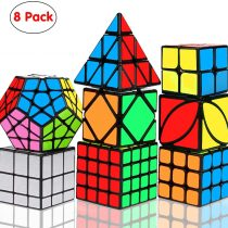 Aiduy Speed Cube Set 8 Pack, Magic Cube Set of 2×2 3×3 4×4 Pyramid Triangle Speed Cube Bundle, Megaminx Skewb Mirror Dodecahedron Smooth Sticker Puzzle Cube Toys with Gift Box for Kids