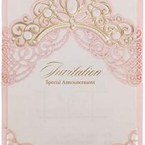 「Princess Dream」WISHMADE Pink & Gold Crown Baby Shower Invitations, laser Cut Crown Baby Shower Wedding Quinceañera Girls Birthday Party Invitations with envelopes (20 Count)