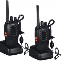 2PCS Walkie Talkie Rechargeable Walkie Talkies Long Range 16CH Two Way Radio Set Walky Talky with Earpieces Handheld Transceiver with LED Light for Adult Field Survival Camping Hiking Communication
