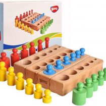 6 Knobs Miniature Montessori Knobbed Cylinder – 6.7 Inches – Colorful Wooden Early Home School Toy – 4pcs Set- Ages 2.5 Years and Up