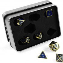 7x polyhedral Metal Steampunk dice set for role and tabletop games in gold blue including storage box
