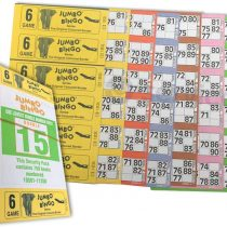 750 BOOKS 6 PAGE GAME STRIPS OF 6 TV JUMBO BINGO TICKET SHEET BIG BOLD NUMBERS