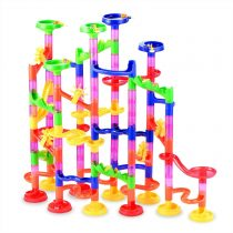 Gifts2U 130PCS Small Marble Run Sets Kids, Race Track Game Toy 100 Translucent Marbulous Pieces + 30 Glass Marbles, STEM Maze Building Blocks for 4+ Year Old