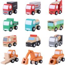 12 Units Set of Different Mini Car Model Construction Wooden Vehicles Cars Trucks Children Girls Boys Educational Toys Gifts