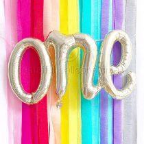 'One' Script Balloon in Gold – First Birthday Party, Birthday Decor, Smash Cake Photo Prop, First Birthday Photo Prop