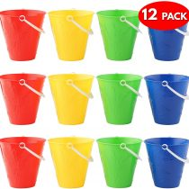 12 Brightly Coloured Buckets – Assorted Colours Sand & Beach Toys – Ideal for Beach, Park or Sandpit, Fun Summer Beach Party – Red, Blue, Green, Yellow.