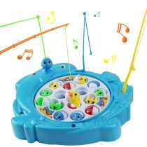 Fish Game Fishing Toys Musical Rotating Fish Board Game With 15 Dolphin Toy Fish Shapes 4 Toy Fishing Rods Role Play Party Game Great Kids Gifts for Girls Boys 3 4 5 Years Old (Type 2- Dolphin)