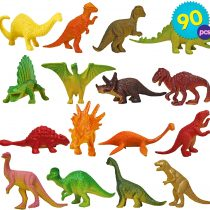 90pcs Dinosaurs in Tub – Mini Dinosaur Toys for Party Favours Birthday Gifts Bag Fillers – Non-Toxic Jurassic Dino Figures Playset – ideal indoor toys for kids for hours of play and entertainment