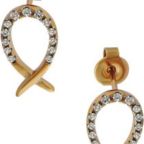 """'Veuer Stud Earrings Jewellery For Women Made of High Quality Stainless Steel 316L Steel """"Fish in Gold with Cubic Zirconia Gift For Her VF493"""