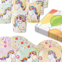 'Home Tools EU® Unicorn Unicorn Flying Unicorn   Party Tableware Set for 6People, Paper Cups and Plates, Napkins, Set of 8Assorted Colours turquoise