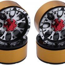 (4-Pack) CNC Aluminum Alloy 1.9″ Beadlock Wheel Rim 12mm Hex Hub w/Brake Disc For RC Rock Crawler Parts