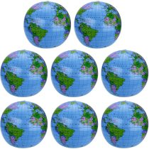 8 Pack Inflatable Globe PVC World Globe Inflatable Earth Beach Ball for Beach Playing or Teaching, 16 Inch