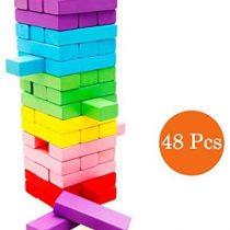 Binoster Wooden Stacking Board,Colorful Timber Tower Tumbling Blocks Game for Kids and Adults,fun Education toys 48 pieces