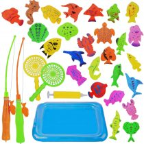 Abree 30 pcs Magnetic Fishing Toy, Floating Bath Game Toy with Net Game Set Bath for Kids Fishing Learning Education Reflex Toys for Toddlers Kids Children