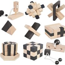 B&Julian®  3D IQ Wooden Puzzle 9Mini Jigsaw Puzzles Mind Games Patience Game Set Wooden Knot Puzzle Game Skill Game Ideas to fill an Advent Calendar