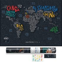 1DEA Scratch Off Travel World Map, Black, 31.5″ x 23.6″