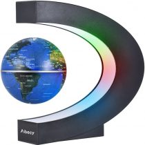 Aibecy Creative 3 Inch C Shaped Magnetic Levitation Floating World Map Globe with LED Color Lights for Home Office Desk Decoration Teaching Demo