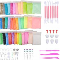 Abree 36 Colors Polymer Modeling Clay Kit Non-toxic Soft Air Dry Molding Clay Dough Toy for Kids, Magic DIY Ultralight Plasticine Moulding Sculpey Tool set Included.
