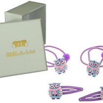 4Piece Childs Winter Owl Snap Clips and Scrunchie Set Hand Decorated in White Box Hair of any love