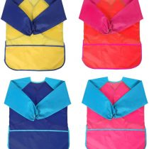 4 Pack Kids Art Smocks, BATTOP Children Waterproof Play Artist Painting Aprons Long Sleeve with 3 Pockets for Age 2-8 Years