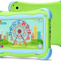 YUNTAB 7 inch Kids Tablet PC Q91 load Children Like PLaying & Learnign Software iWawa Android 5.1 A33 1.5GHZ quad core HD 1024*600 Display Wifi dual Camera 3D Game with protective tablet case (Green)