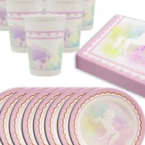 """'Home Tools. EU Unicorn Unicorn""""Butterfly Party Tableware Set–8Person, Paper Plates, Napkins   Paper Cups (36Pieces)"""