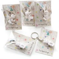 'Pack of 10Small White Angel Key Heart Pendant 3.5Cm from plaster with Gift Tags–For Little Angel Little Gift For Loved Ones